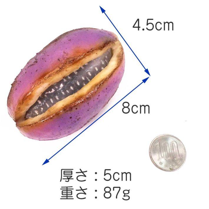 大きさ 8cm×4.5cm×5cm、重さ 約87g